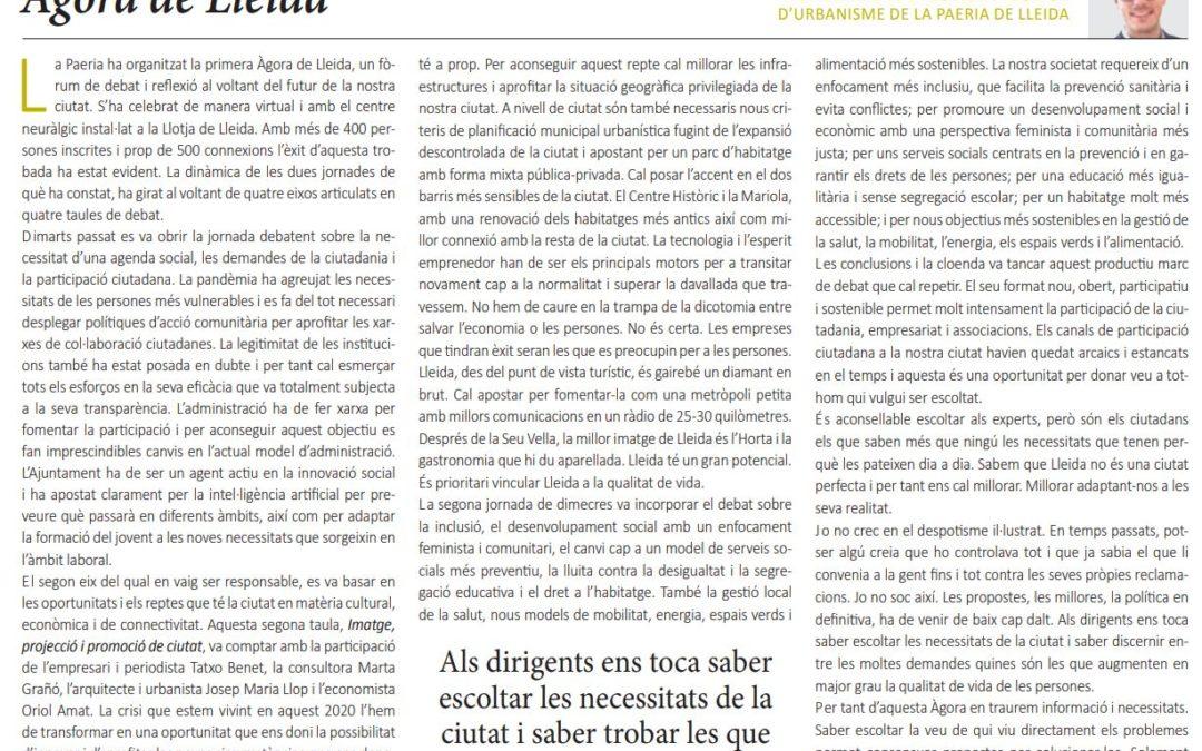 """""""Àgora de Lleida"""" de Toni Postius, 1r Tinent d'Alcalde i Regidor d'Urbanisme"""