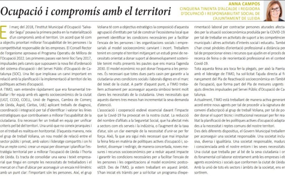 """""""Ocupació i compromís amb el territori"""" d'Anna Campos, 5a Tinenta d'Alcalde i Regidora d'Ocupació i Responsabilitat Social"""