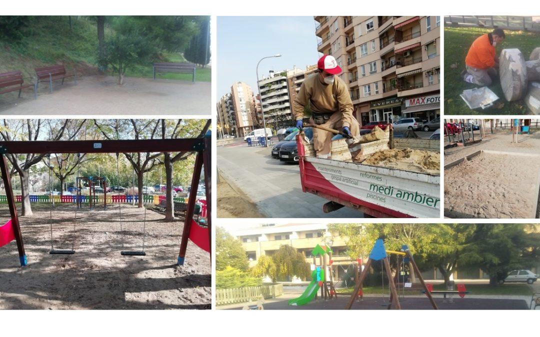Els resultats del manteniment de 114 places de la ciutat ja són visibles en àrees de joc infantil, elements esportius i mobiliari urbà de Lleida.