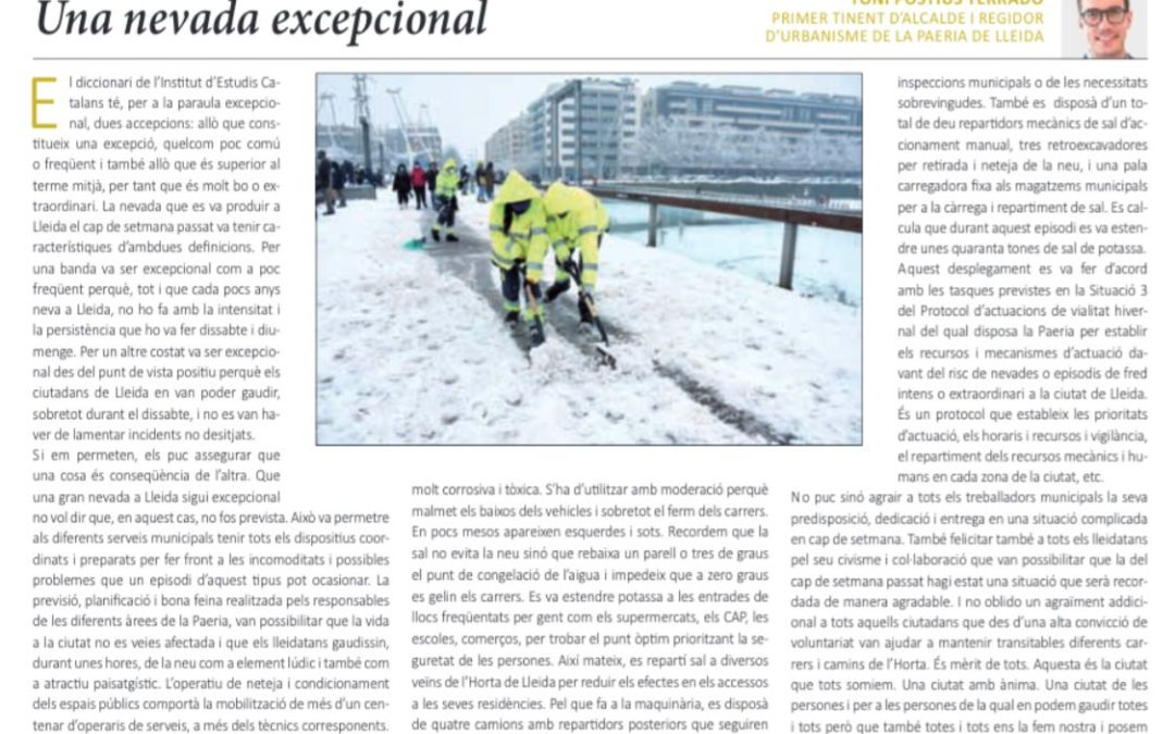 """""""Una nevada excepcional"""". Article del primer tinent d'alcalde Toni Postius"""